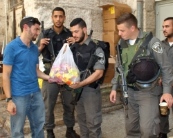 Gave out frozen popsicles to the additional security forces around the Old City of Jerusalem