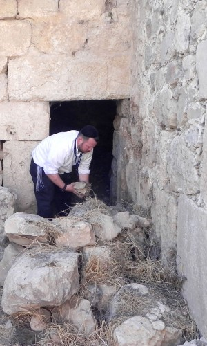 Rabbi Ben Packer, Director of the Jerusalem Heritage House, clears a path to the Ancient Synogogue in hebron, being excavated by the Jerusalem Heritage House.