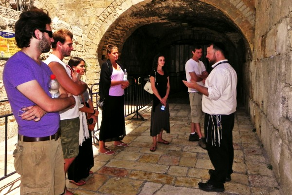 Rabbi Ben Packer Director of the Jerusalem Heritage House, tours the Small Western Wall or Kotel Katan, in the Heart of the Muslim Quarter, to Jerusalem Heritage House Guests.