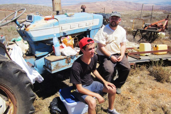 Heritage House guests Working in the fields of the Shomron near shilo