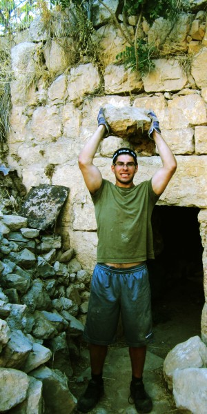 Zach Kerner a guest of the Jerusalem Heritage House, Excavates an ancient Synagogue, near the old city of Hebron.