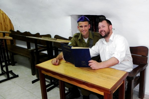 Rabbi Ben Packer Jerusalem Heritage House Director Studying an Asher David Milstein Artscroll Chumash (facilitated by Jeff M Seidel) n Hevron with one of Jerusalem Heritage House 'lone soldiers' Jonathan Helfer - Thanks Governor! at ‎Hevron - חברון‎.‎
