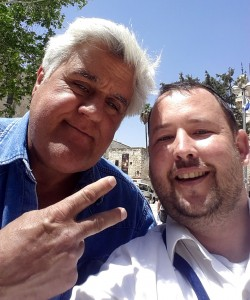 Rabbi Ben Packer, Director of the Heritage House, and Jay Leno