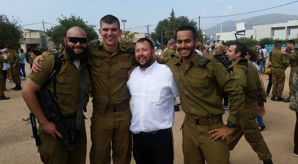 "Director Rabbi Ben Packer with  ""lone soldiers"" Josh Harris, Judah Baum, Jonathan Davidov and Eitan Magder."