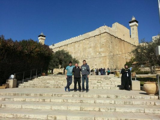 In front of the Tomb of the Patriarchs in Hevron.