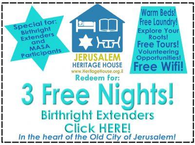 3 free Nights Birthright Extenders